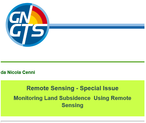 Remote Sensing – Special Issue Monitoring Land Subsidence Using Remote Sensing
