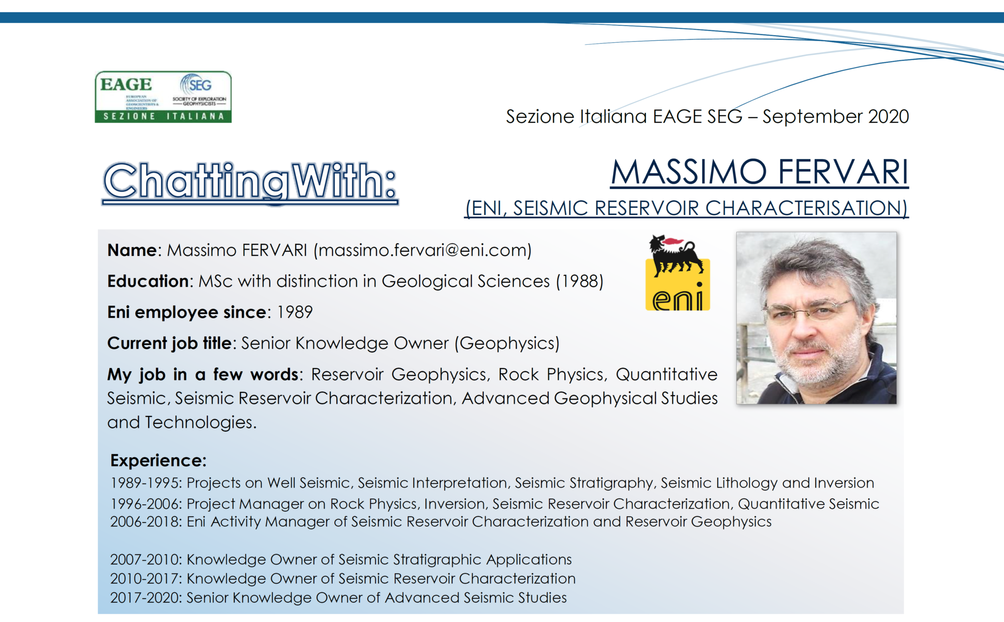 Eni Seismic Reservoir Characterisation Team – Massimo Fervari