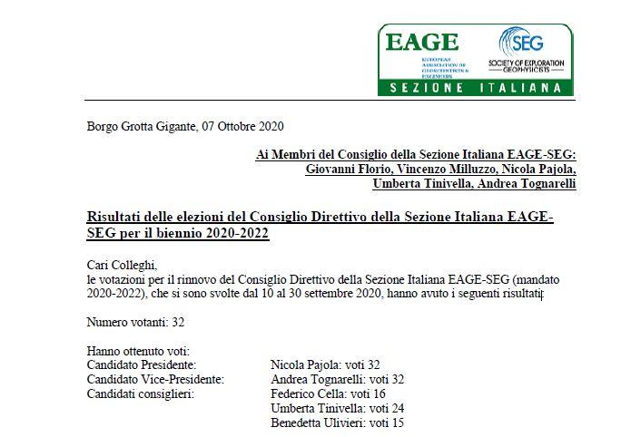 Risultati delle elezioni del Consiglio Direttivo della Sezione Italiana EAGE-SEG per il biennio 2020-2022