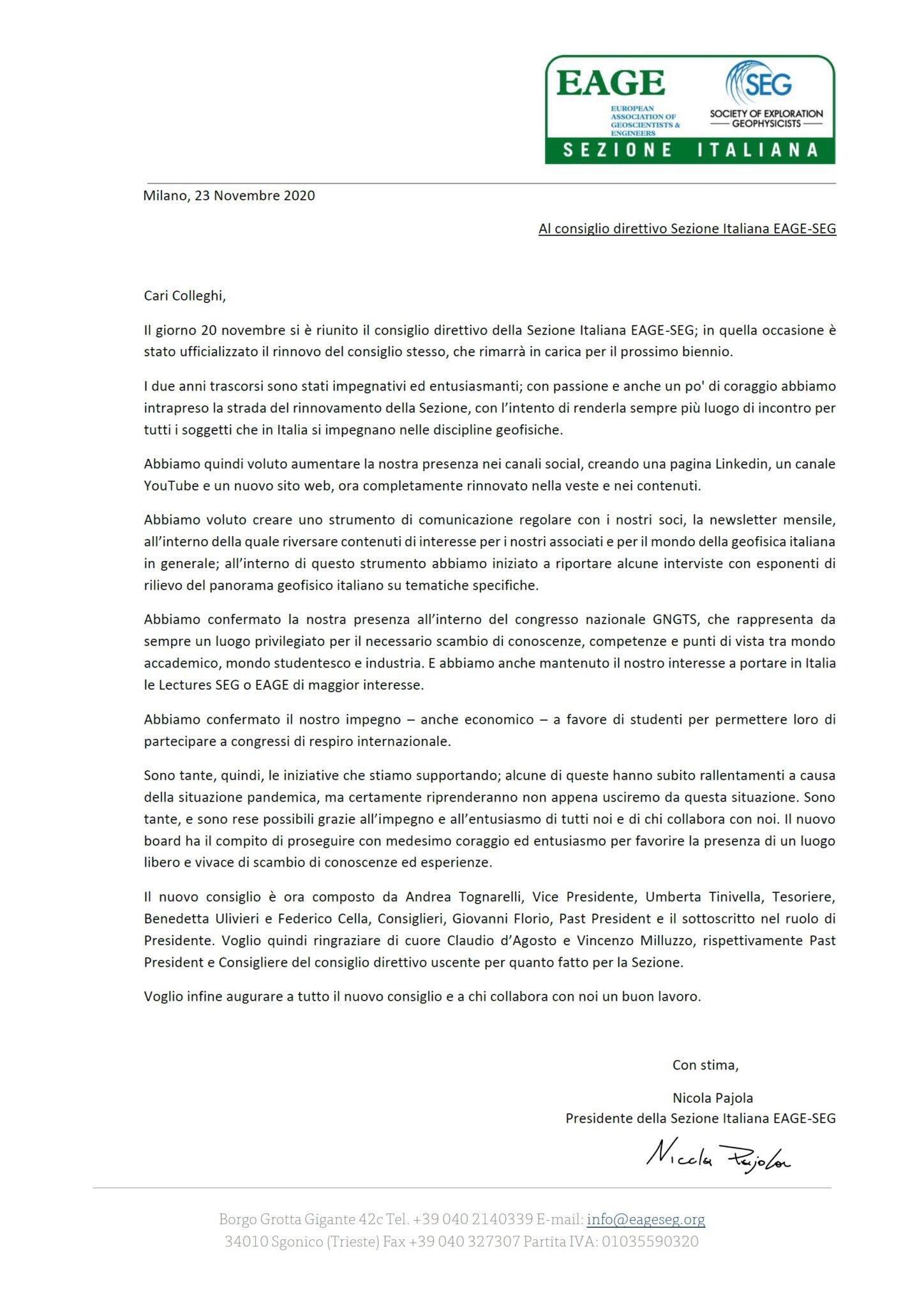 Lettera del Presidente Nicola Pajola, 23 Nov. 2020