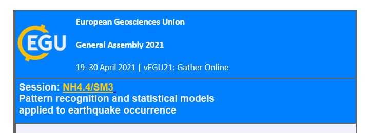 European Geosciences, Union General Assembly 2021: Pattern recognition and statistical models applied to earthquake occurrence